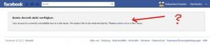 facebook.de - Account derzeit nicht verfügbar